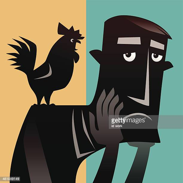 man and rooster