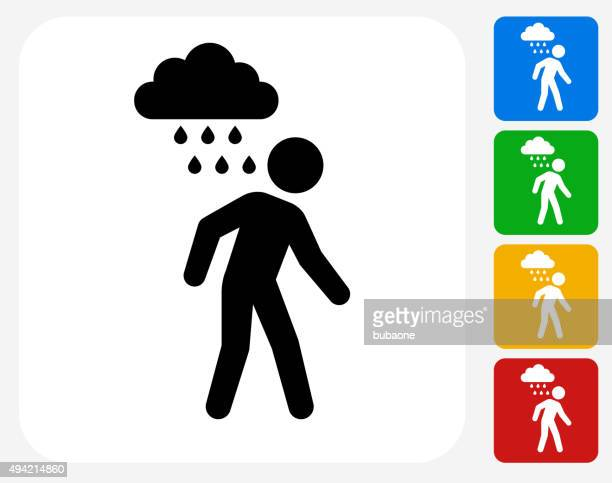 Man and Sad Rain Cloud Icon Flat Graphic Design