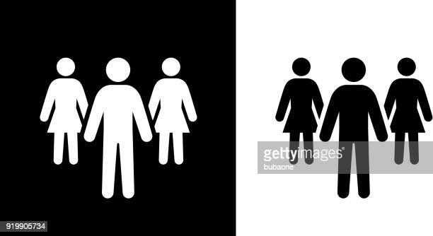 man and two women work in the team. - stick figure stock illustrations