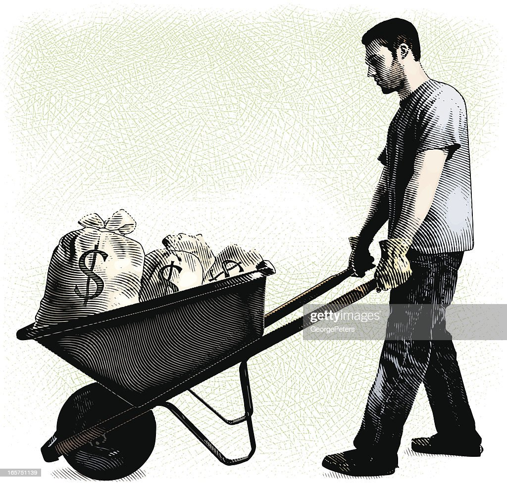 Man And Wheelbarrow Filled With Money Bags : stock vector