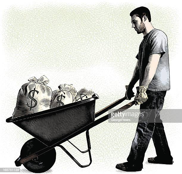 Man And Wheelbarrow Filled With Money Bags