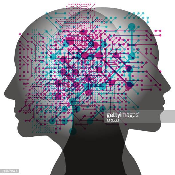 man and woman ai thoughts - artificial stock illustrations, clip art, cartoons, & icons