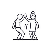 Man and woman are dancing line icon concept. Man and woman are dancing vector linear illustration, symbol, sign