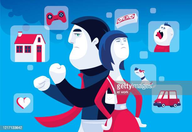 man and woman arguing - family fighting cartoon stock illustrations