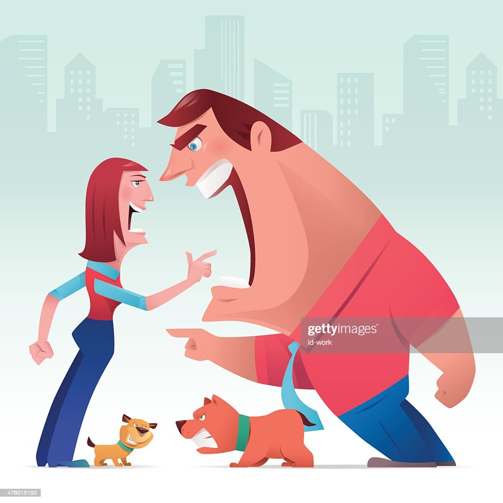 man and woman arguing with dogs : stock illustration