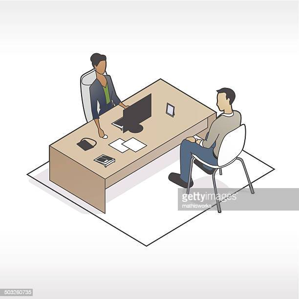 man and woman at desk illustration - mathisworks stock illustrations