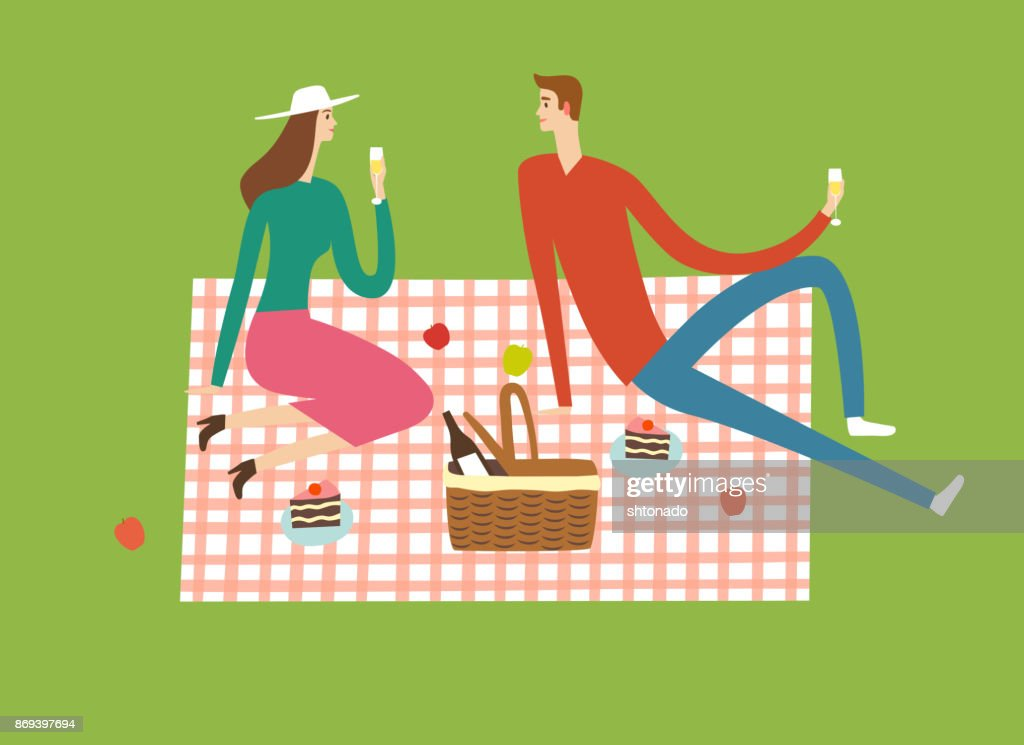 Man and woman at the picnic.