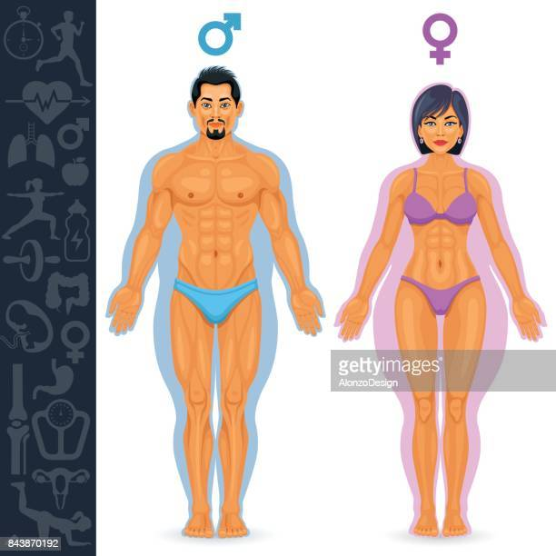 Man and woman before and after fitness