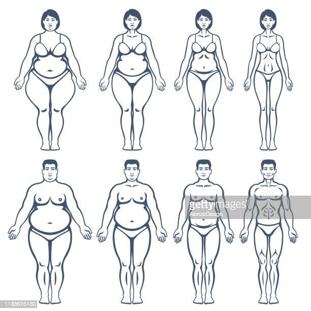 Man and woman before and after weight loss