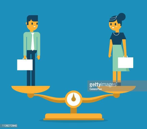ilustrações de stock, clip art, desenhos animados e ícones de man and woman being weighed on scales - direitos humanos