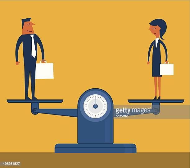 man and woman being weighed on scales - equal opportunity stock illustrations, clip art, cartoons, & icons