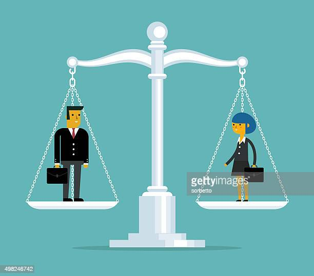 man and woman being weighed on scales - battle of the sexes concept stock illustrations