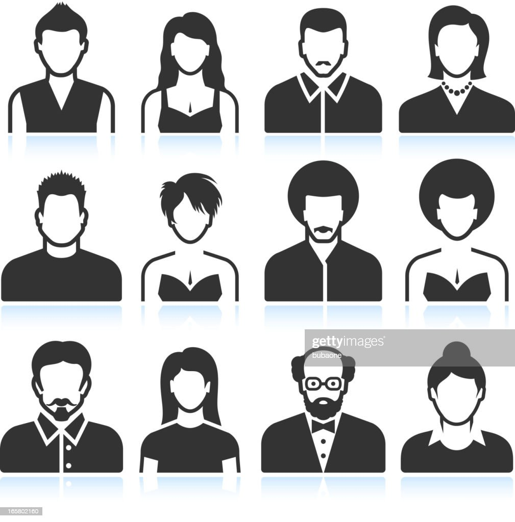 Man and Woman black & white vector icon set