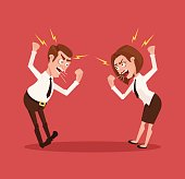 Man and woman business office workers characters quarreling