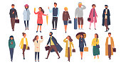 Man and woman characters in autumn outwear clothes. Crowd of cartoon people outside on the streets. Vector flat illustration