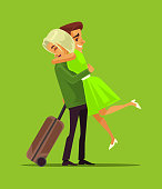 Man and woman characters meeting aster long separation business trip. Family lovers vector cartoon illustration