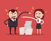 Man and woman colleagues office workers characters quarreling. Bad teamwork