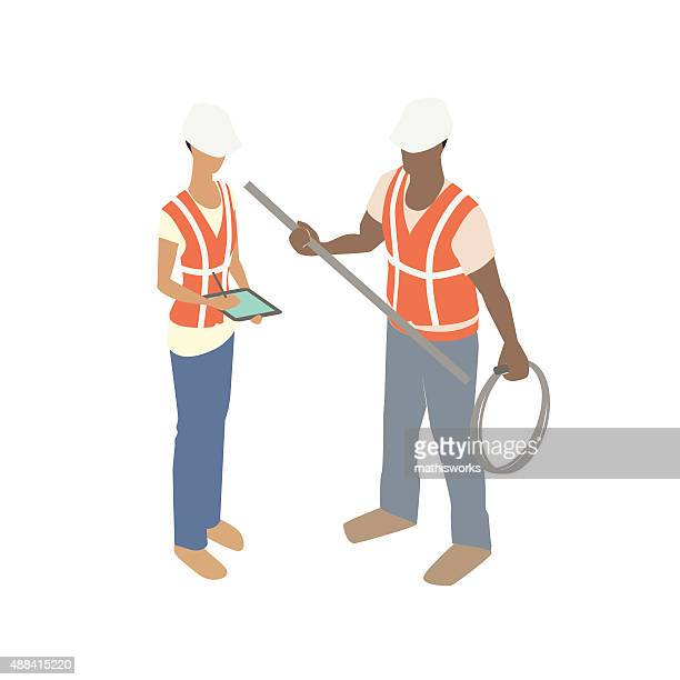 man and woman construction workers - waistcoat stock illustrations, clip art, cartoons, & icons