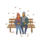 man and woman, couple on a date in the autumn  fall park sitting on a bench scene isolated vector illustration