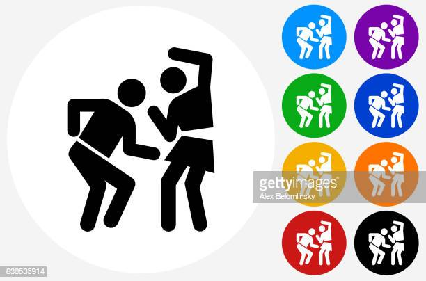 Man and Woman Dancing Icon on Flat Color Circle Buttons