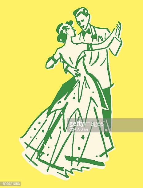man and woman dancing - ballroom stock illustrations