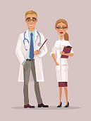 Man and woman doctors characters