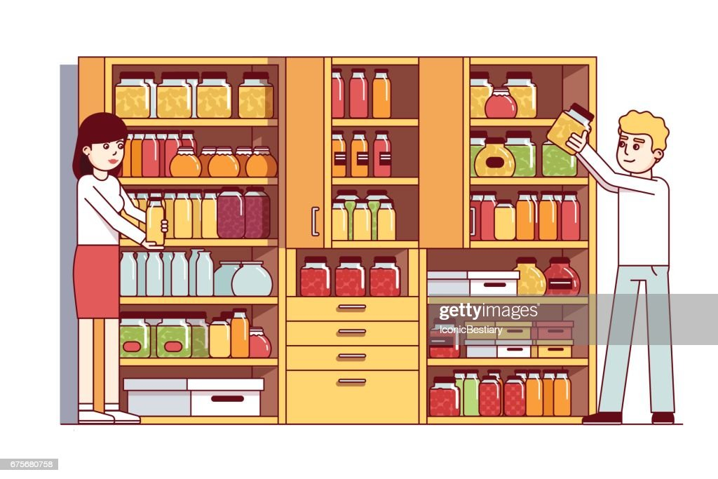 Man and woman doing housework in pantry or cellar
