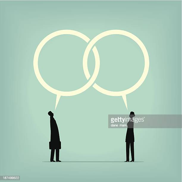Man and woman drawing with thought bubbles conjoined