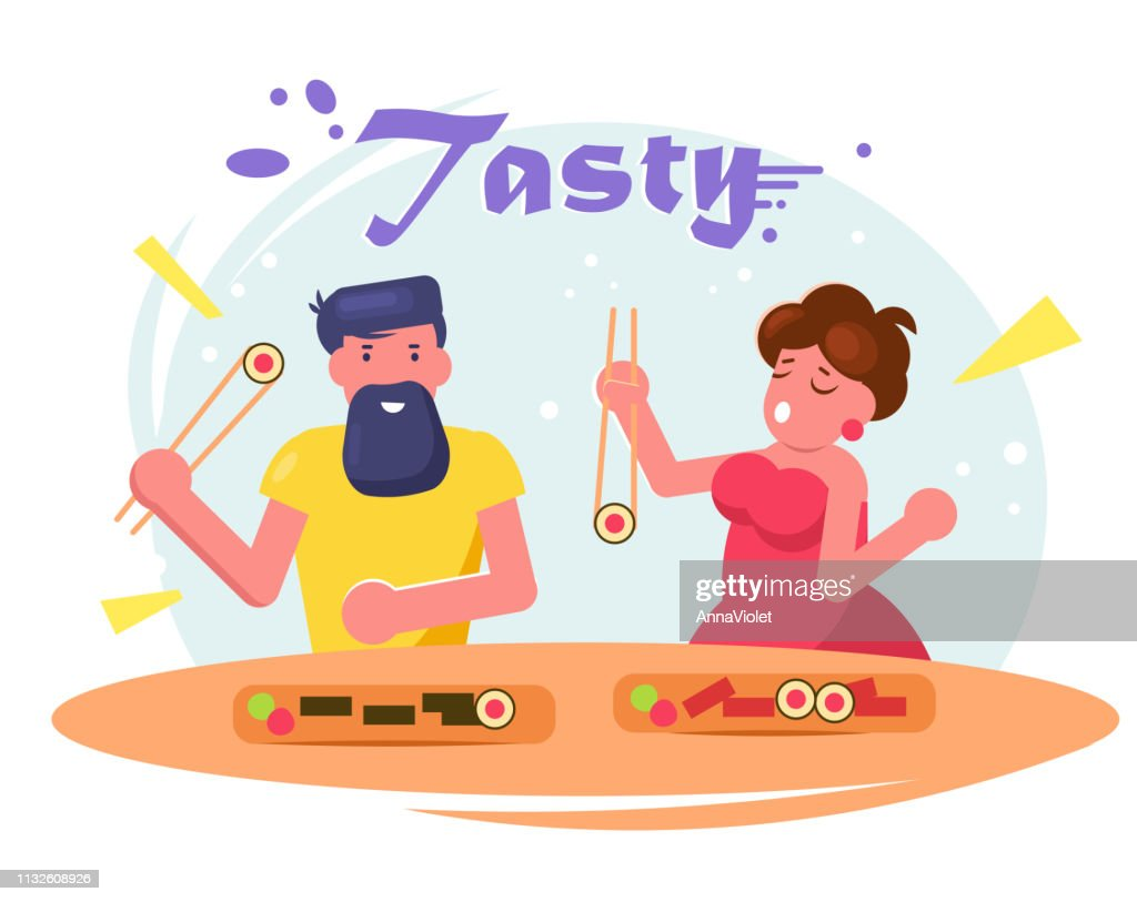 Man and woman eating sushi Vector. Cartoon. Isolated