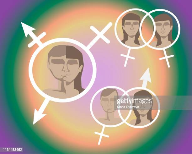 man and woman face. gender differences. vector. - androgynous stock illustrations, clip art, cartoons, & icons
