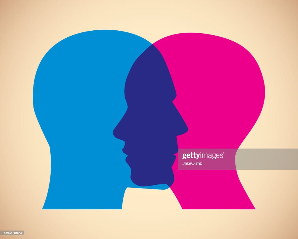 Man and Woman Faces Overlapping : stock illustration