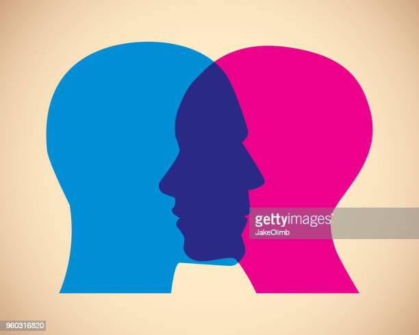 man and woman faces overlapping - two people stock illustrations
