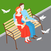 Man and woman feeding birds in park on the bench. Isometric couple Romantic date. Girl and boy in love relationship feed pigeons. Family walk