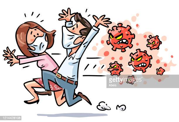 man and woman fleeing from virus - hysteria stock illustrations