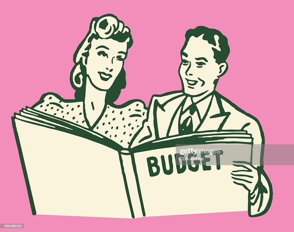 Man and Woman Going Over Budget Book : Vector Art