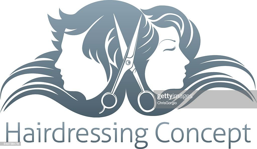 Man and woman hairdresser scissors concept