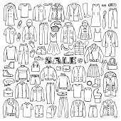 Man and Woman Hand Drawn Clothes Sale