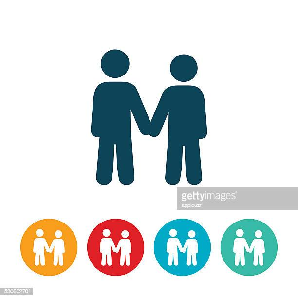 man and woman holding hands icon - flirting stock illustrations, clip art, cartoons, & icons