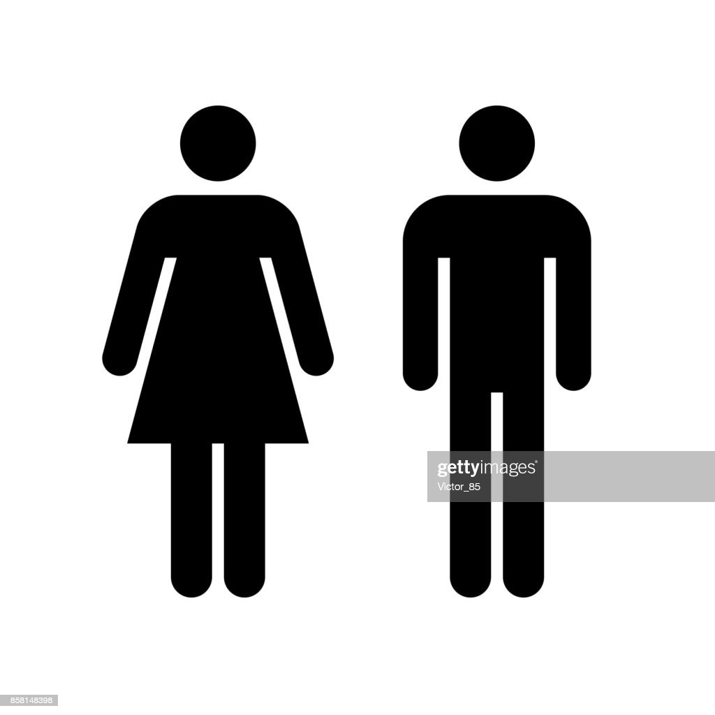 Man and woman icon. Black icon isolated on white background. : stock illustration