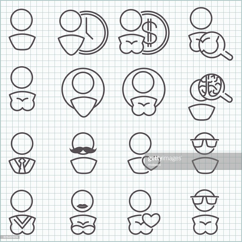 Man and woman icons set