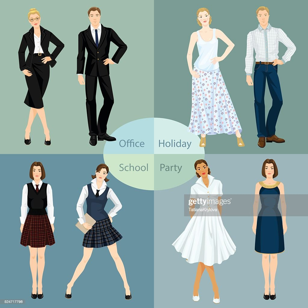 Man and woman in different clothes