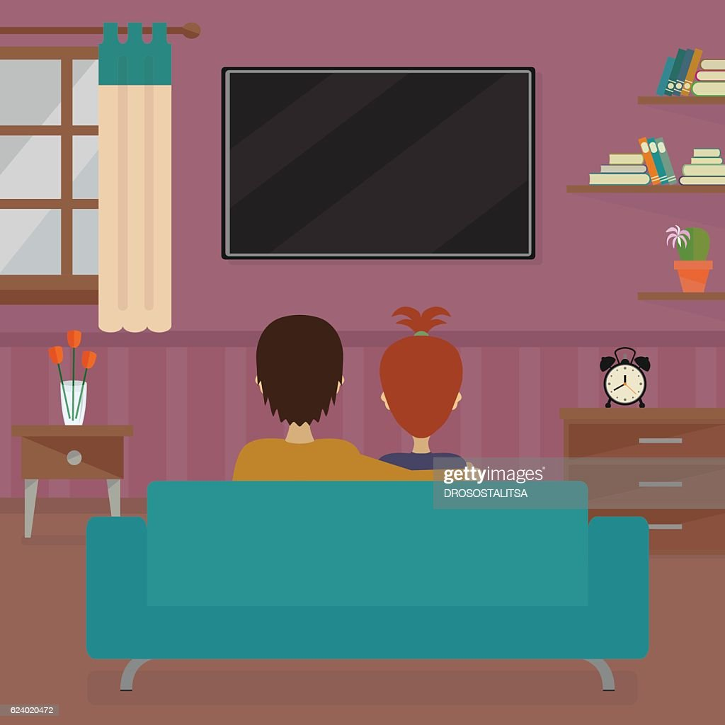 Man and woman in front of tv screen