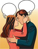 Man and Woman in Love Kissing with Speech Balloons