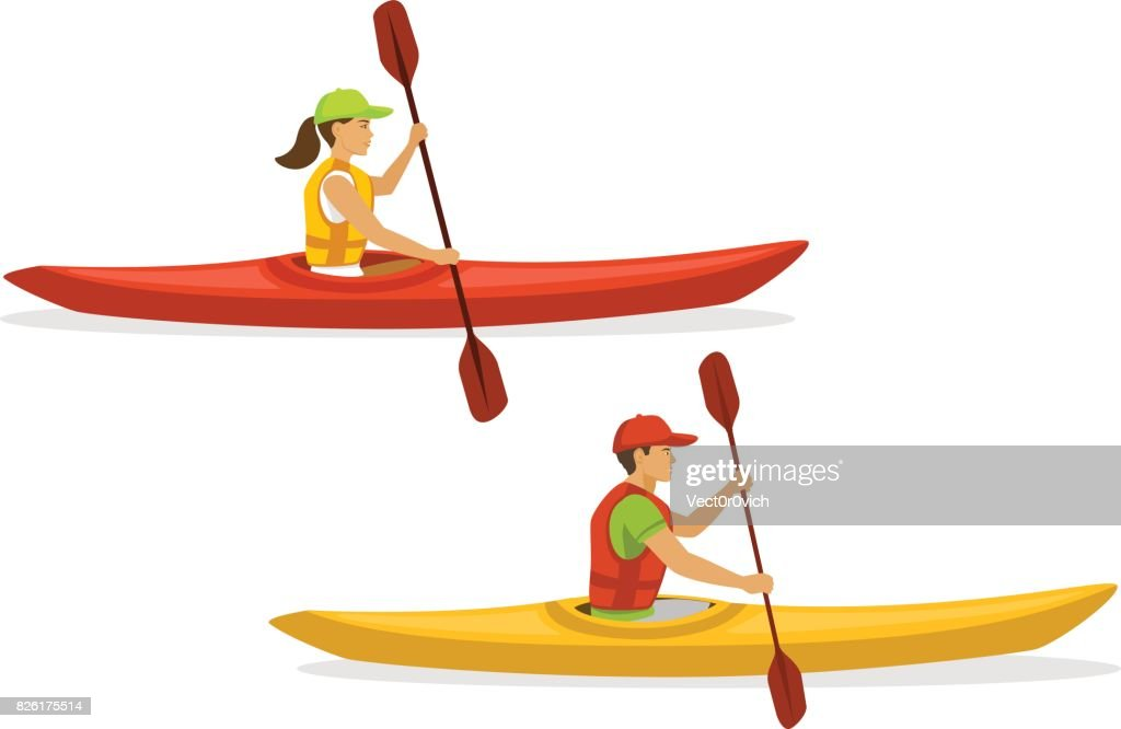 Man and woman kayaking. isolated