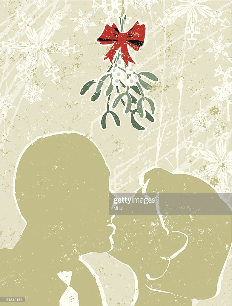 Man and Woman Kissing Under The Mistletoe : stock illustration