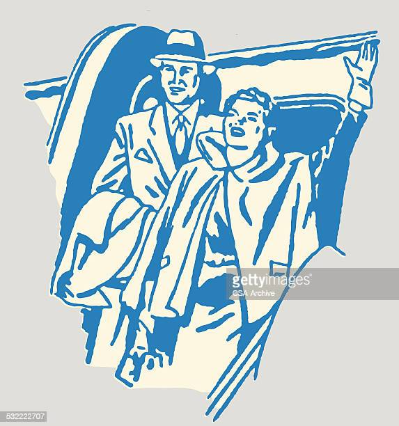 Man and Woman Leaving Airplane and Waving