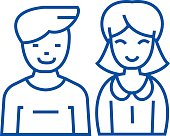 Man and woman, line icon concept. Man and woman, flat  vector symbol, sign, outline illustration.