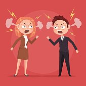 Man and woman office workers characters quarreling