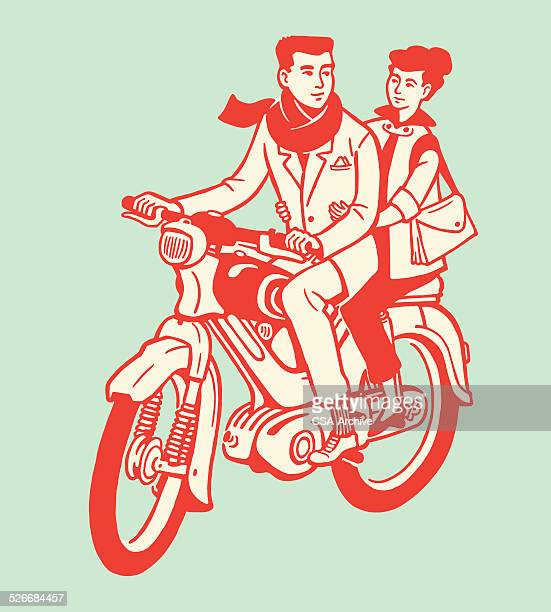 man and woman on motorcycle - vintage motorcycle stock illustrations