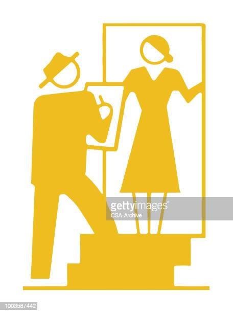 ilustraciones, imágenes clip art, dibujos animados e iconos de stock de hombre y mujer en las escaleras - census